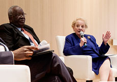 Madeleine Albright and Ibrahim Gambari in The Hague